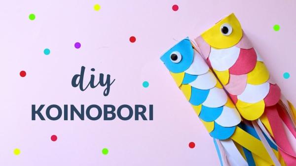 Koinobori Fliegende Fische basteln Papier DIY Windsäcke