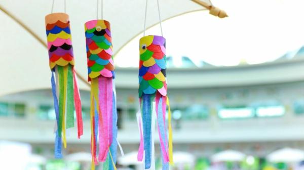 Koinobori Fliegende Fische basteln Papier Karpfen