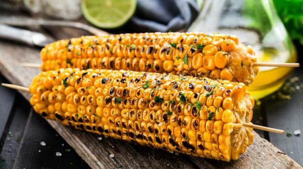 Maiskolben grillen köstliche Beilage zum Fleisch oder Fisch