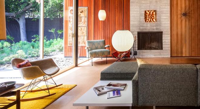 Mid-Century Modern Wohnstil Wohnzimmer schwellenloser Übergang zwischen innen und außen
