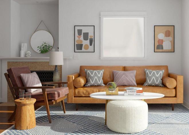 Mid-Century Modern Wohnstil bequeme Möbel warme Farben Lebensfreude ausstrahlen Sofa in Sandbraun Sessel
