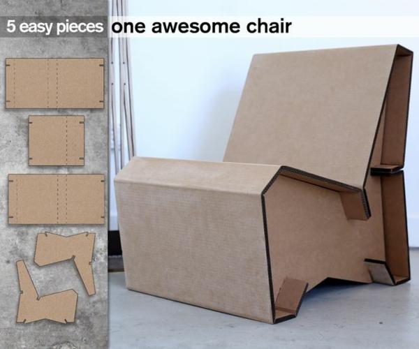 Pappmöbel Möbel aus Pappe Lounge-Chair zusammenbauen