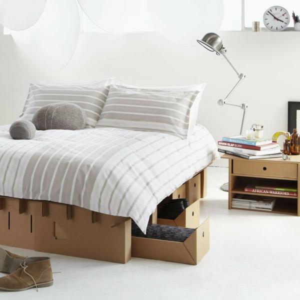 Pappmöbel Möbel aus Pappe Schlafzimmer Möbel Bett Nachttisch