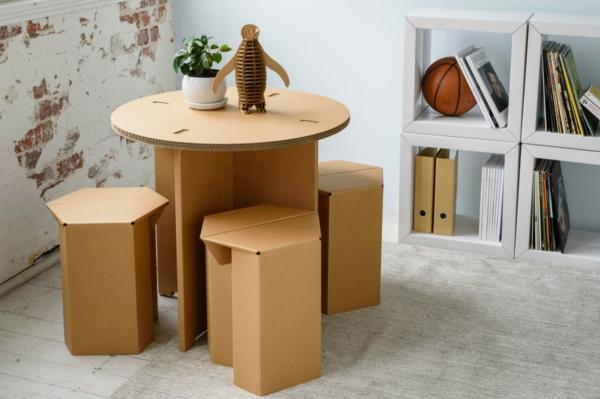 Pappmöbel Möbel aus Pappe Tisch mit Hockern