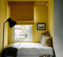 Inspirierende Schlafzimmer Ideen in leuchtendem Gelb und kühlem Grau