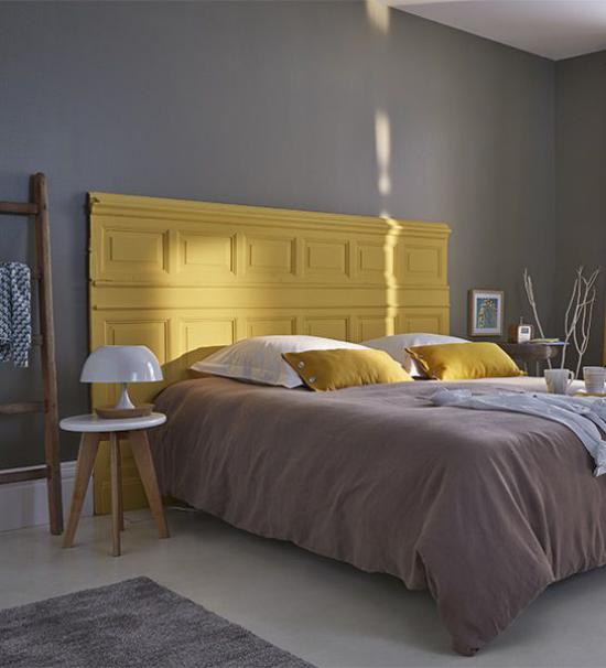 Schlafzimmer Ideen in Grau und Gelb schöne Farbgestaltung Eleganz Ruhe Stil