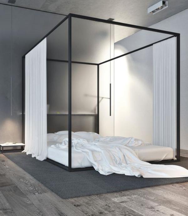 Schlafzimmer minimalistisch einrichten Himmelbett einfaches Design passt gut in den Schlafraum