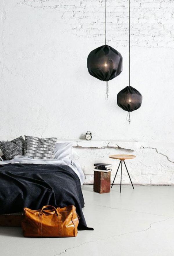 Schlafzimmer minimalistisch einrichten Minimalismus mit Industrial Style paaren Ziegelwand Betonboden