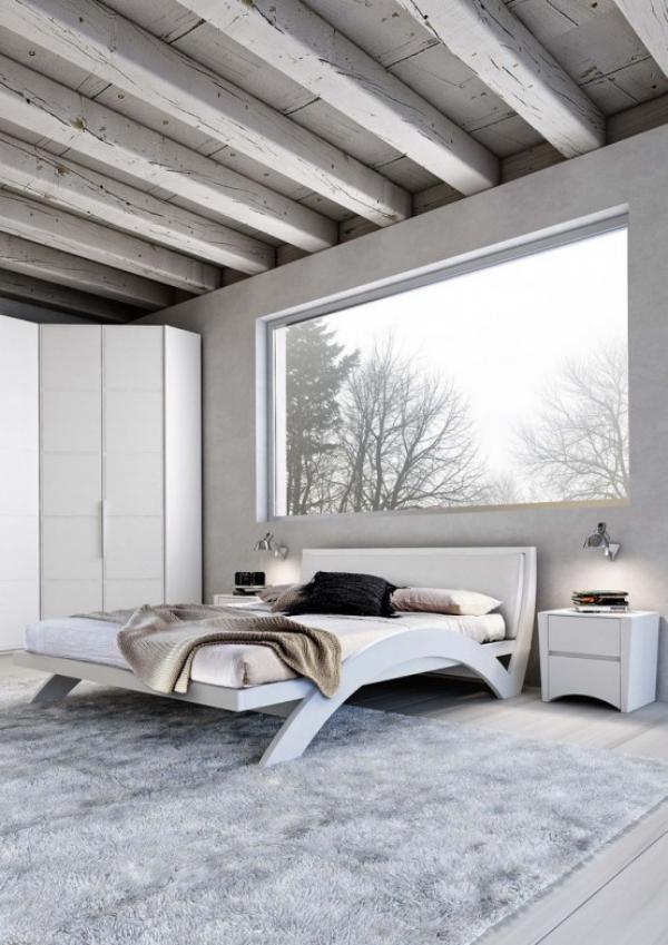 Schlafzimmer minimalistisch einrichten großes Fenster einfaches