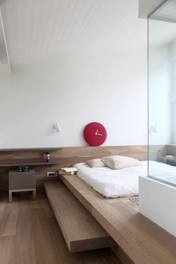 Schlafzimmer minimalistisch einrichten helles Holz einfaches Design Schlafbett