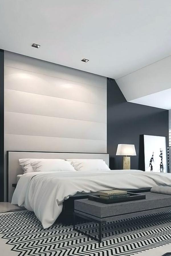 Schlafzimmer minimalistisch einrichten richtige Raumbeleuchtung eingebaute Strahler an der Decke