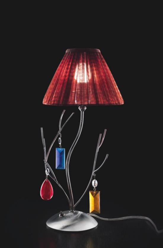 Tischlampen ausgefallen fantasievoll designt echtes Unikat weinroter Lampenschirm bunte Juwelen
