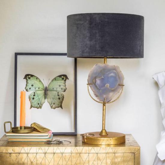 Tischlampen ausgefallen fantasievoll designt großer helllila Achat ein richtiges Unikat