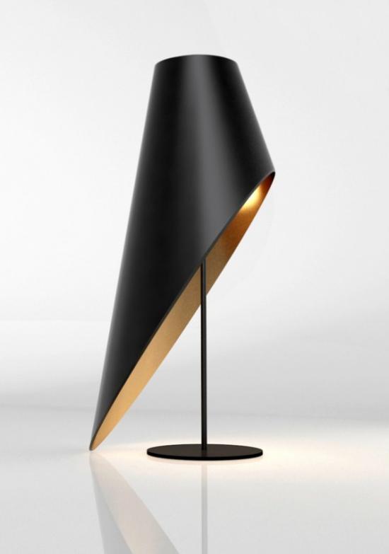 Tischlampen ausgefallen fantasievoll designt interessante Lampenform Asymmetrie in Schwarz und Gold