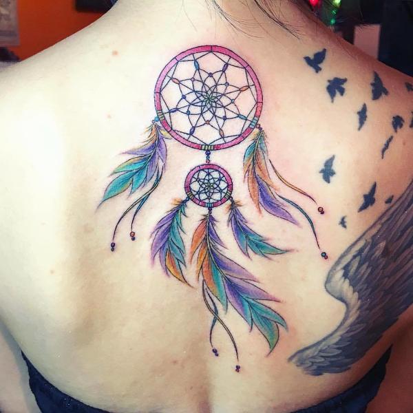 Traumfänger Tattoo bunte Tätowierungen