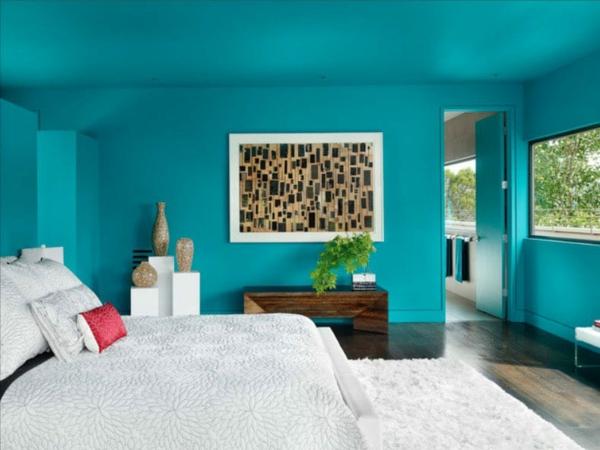 Wandgestaltung Schlafzimmer Wandfarbe Türkis