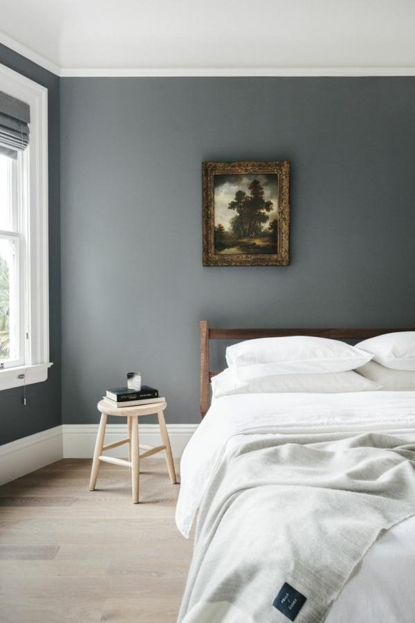Wandgestaltung Schlafzimmer Wandfarbe dunkelblau