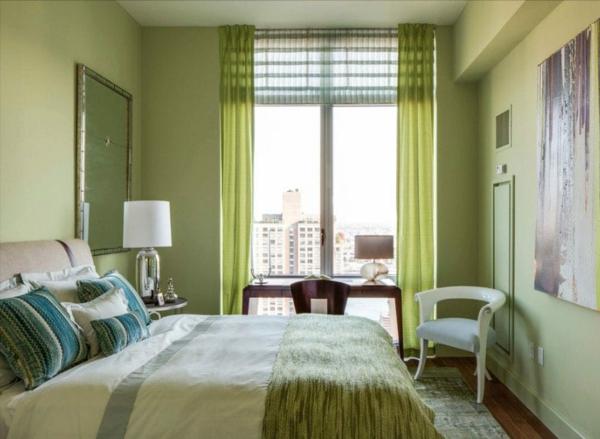 Wandgestaltung Schlafzimmer Wandfarbe grün Entspannung