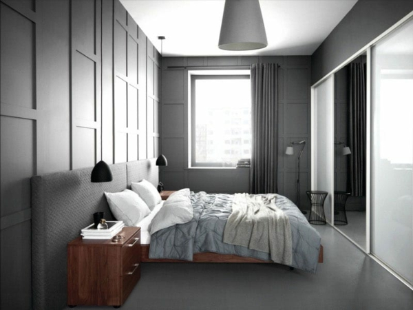 Wandgestaltung Schlafzimmer Wandfarbe grau