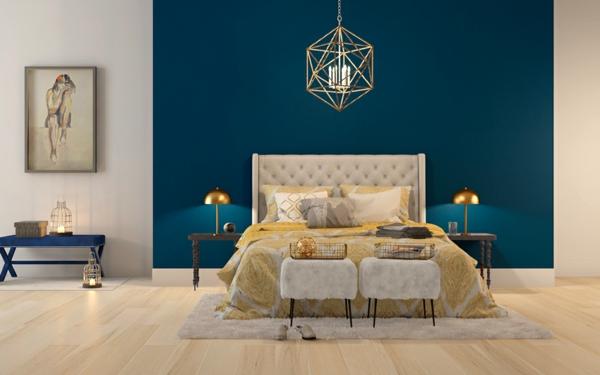 Wandgestaltung Schlafzimmer Wandfarben blaue Akzentfarbe