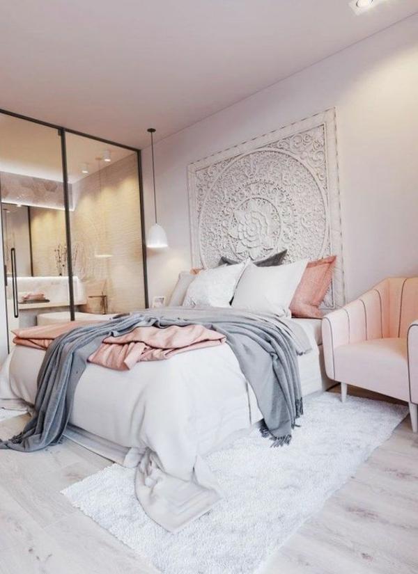 Wandgestaltung Schlafzimmer Wandfarben helle Atmosphäre
