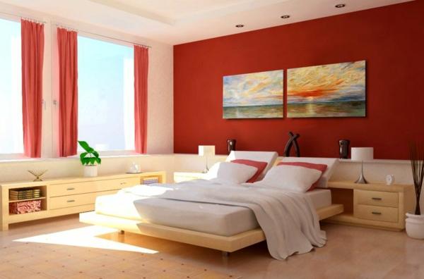 Wandgestaltung Schlafzimmer Wandfarben rot