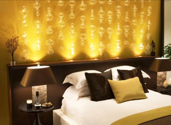 Wandgestaltung Schlafzimmer gelbe Wndfarbe Muster