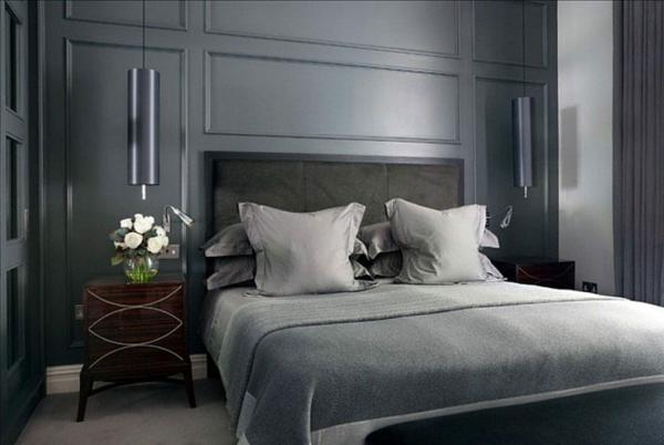 Wandgestaltung Schlafzimmer metallische Wandfarben