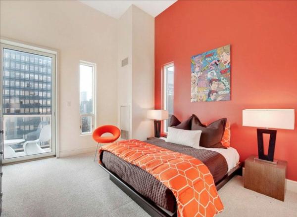 Wandgestaltung Schlafzimmer orange Wandfarbe