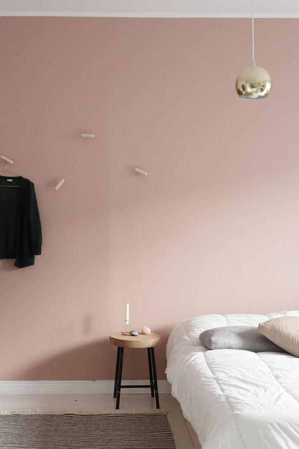 Wandgestaltung Schlafzimmer rosa Wandfarbe hell