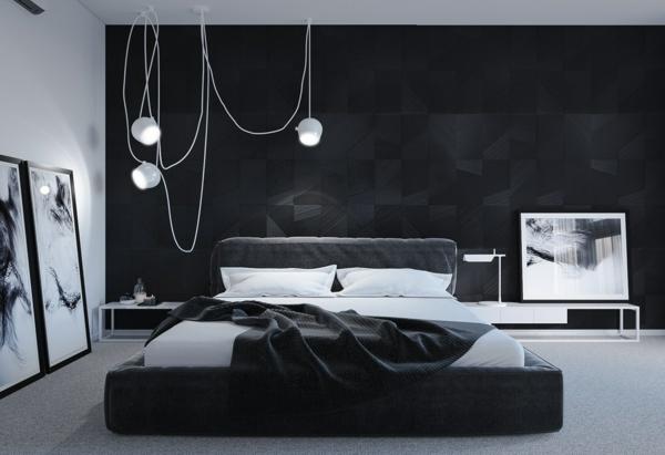 Wandgestaltung Schlafzimmer schawarze Wandfarbe