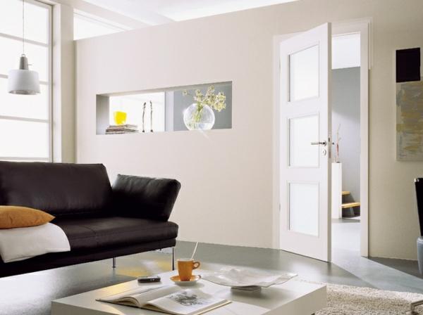 elegante moderne innentüren weiß glas