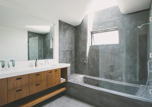 bad ohne fliesen beton optik panorama spiegel