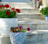 Mit wenig Aufwand Blumentöpfe verschönern