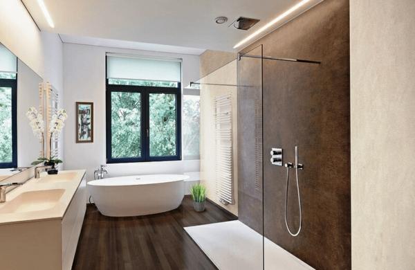 elegantes bad ohne fliesen erdfarben weiße wände