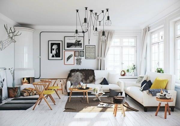 fotowand wohnzimmer skandinavisch wohnen