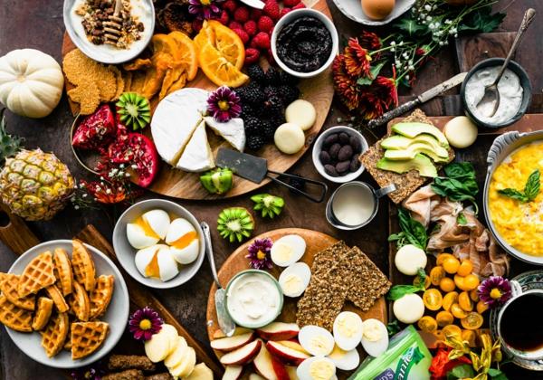 häusliches Brunch Buffet Brunch Ideen nahrhafte Lebensmittel