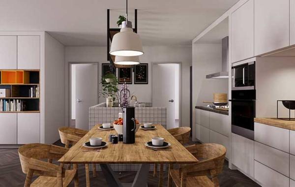 kücheneinrichtung ideen modernen tisch selber bauen