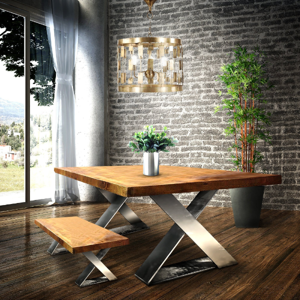 modernen tisch selber bauen metallbeine und holz