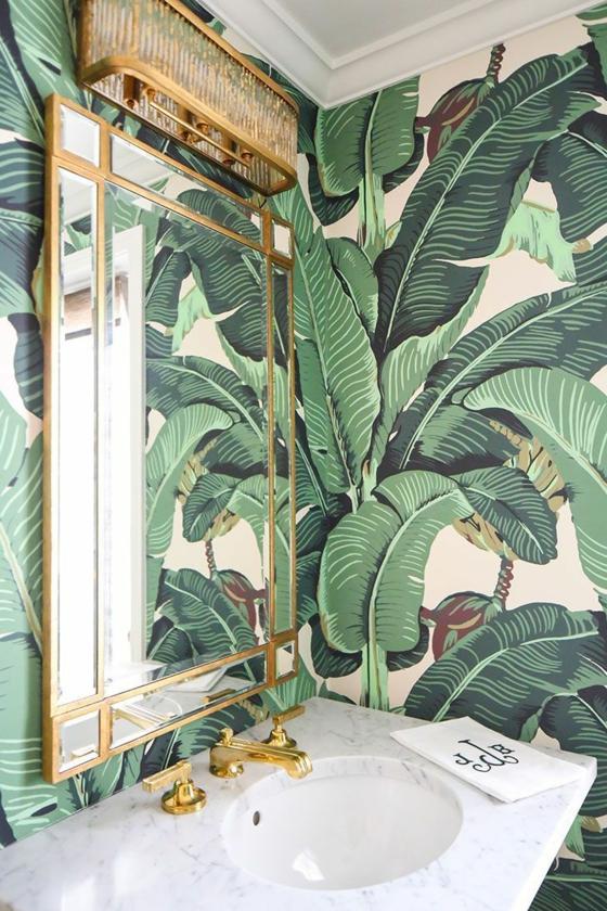 palmenblätter 3d fototapeten badezimmer