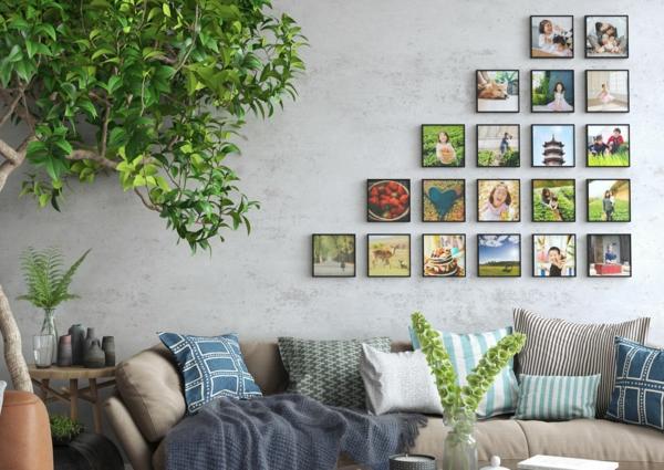 tolle wanddeko mit fotos bilder aufhängen ohne bohren