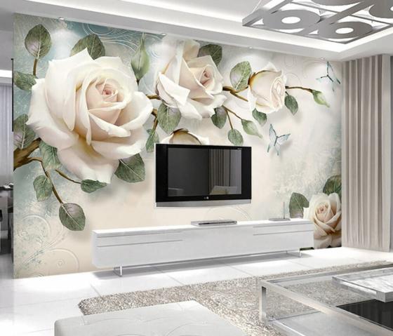 weiße rosen 3d fototapeten