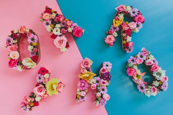Buchstaben mit Blumen Ideen Blumen Buchstaben selber machen
