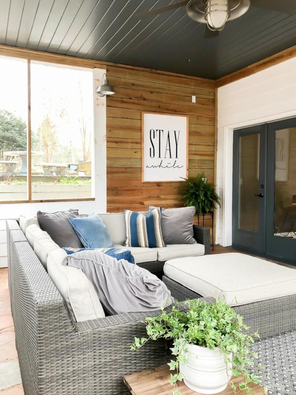 Decke dunkel streichen Deckenfarbe Sommerhaus Schwarz