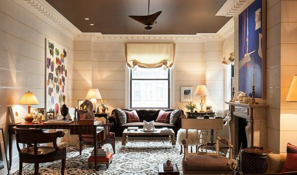 Decke dunkel streichen Deckenfarbe Wohnzimmer Braun