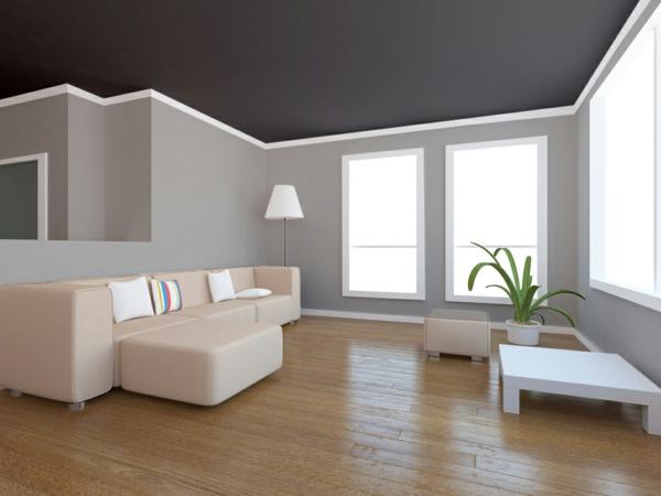 Decke dunkel streichen Deckenfarbe dunkel Grau Schwarz
