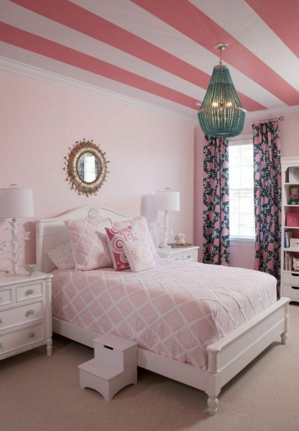 Decke streichen Deckenfarbe Pink Rosa Streifen