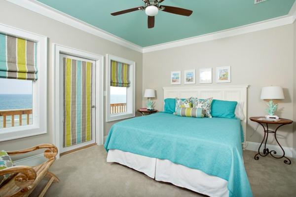 Decke streichen blaue Deckenfarbe Ideen