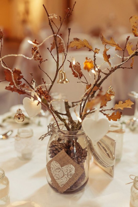 Deko Ideen mit Herbstblättern dekorieren bis Weihnachten festlicher Tischschmuck