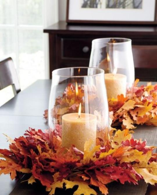 Deko Ideen mit Herbstblättern zeitlos effektvoll kostenlos